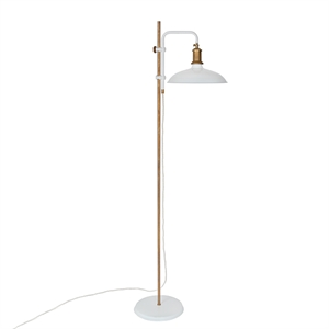 Konsthantverk Kavaljer Floor Lamp - Matt White & Raw Brass
