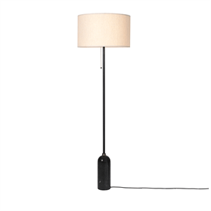 GUBI Gravity Floor lamp Black Marble & Canvas Shade Large