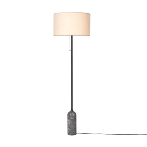 GUBI Gravity Floor lamp Grey Marble & Canvas Shade Large